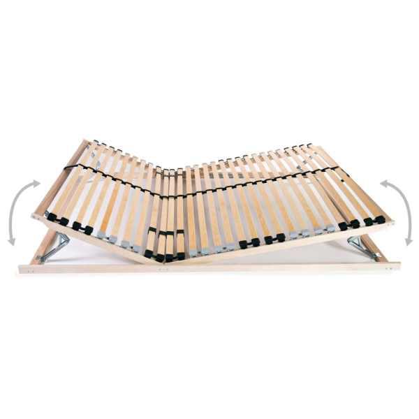 Bază de pat cu șipci, 28 șipci, 7 zone, 120 x 200 cm