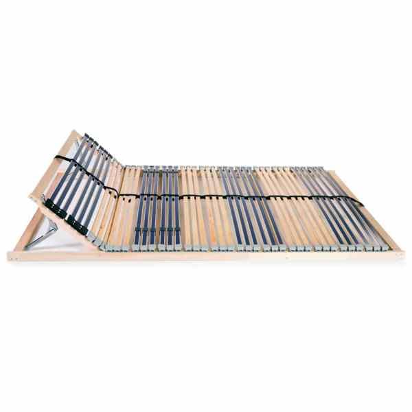 Bază de pat cu șipci, 42 șipci, 7 zone, 120 x 200 cm