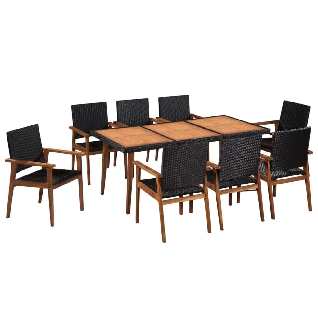vidaXL Set mobilier de exterior, 9 piese, negru și maro, poliratan