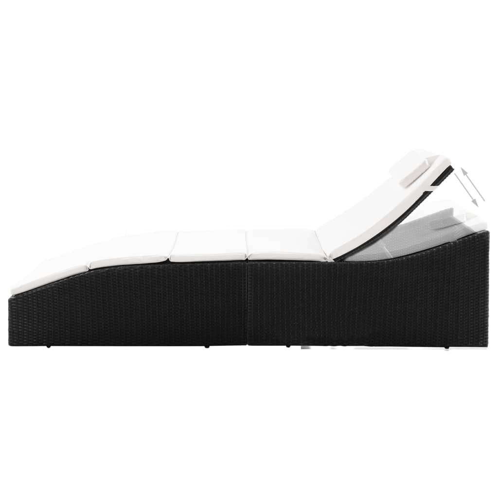 vidaXL Șezlong cu pernă, negru, poliratan