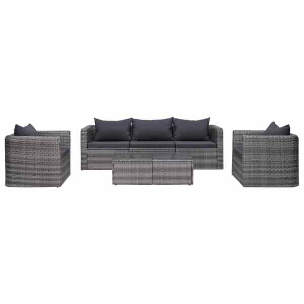 vidaXL Set canapea de grădină cu perne, 6 piese, gri, poliratan