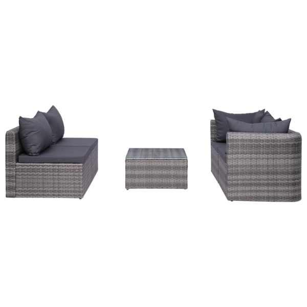 vidaXL Set canapea de grădină cu perne, 5 piese, gri, poliratan