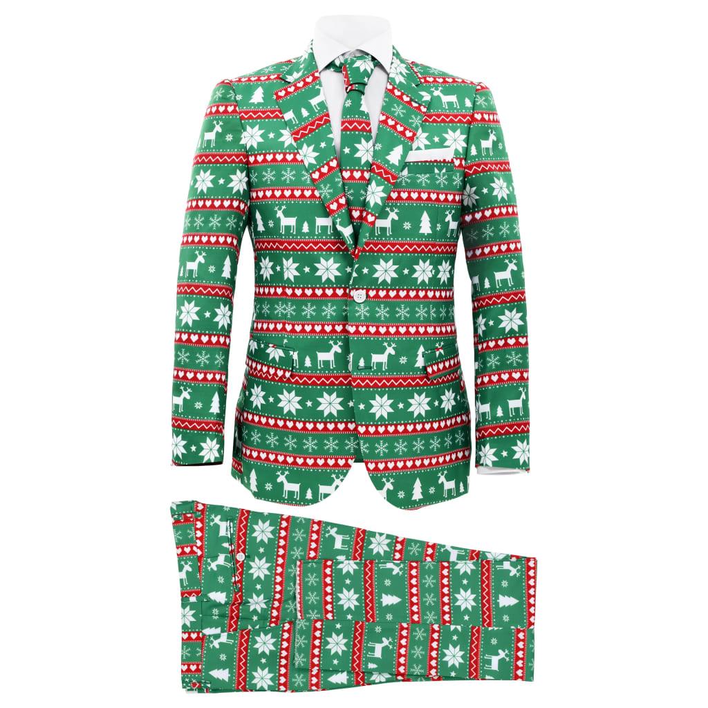 vidaXL Costum bărbătesc Crăciun, 2 piese, cravată, verde, mărimea 46