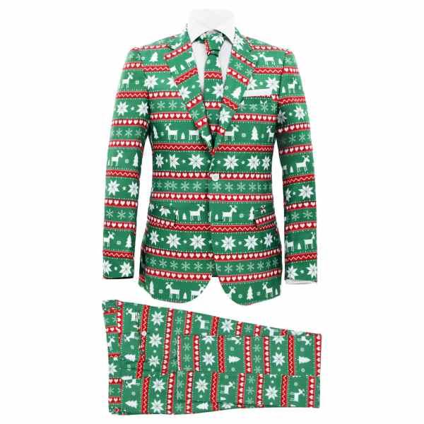 vidaXL Costum bărbătesc Crăciun, 2 piese, cravată, verde, mărimea 50