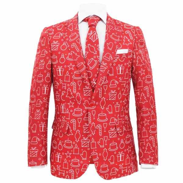 Costum bărbătesc Crăciun, 2 piese, cravată, roșu, mărimea 46