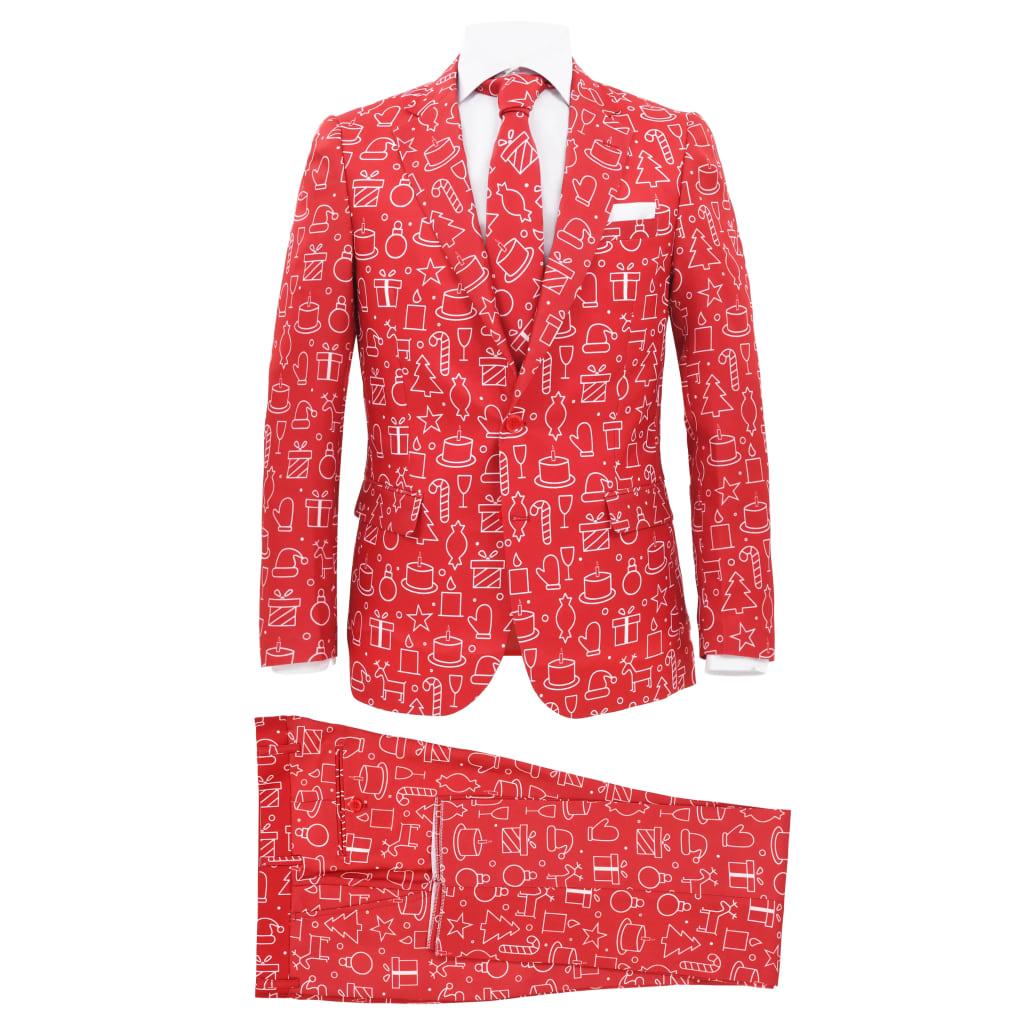 vidaXL Costum bărbătesc Crăciun, 2 piese, cravată, roșu, mărimea 48