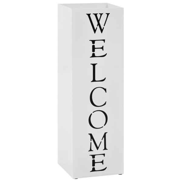vidaXL Suport pentru umbrelă Welcome, oțel, alb
