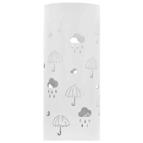 Suport pentru umbrele, imprimeu umbreluțe, oțel, alb