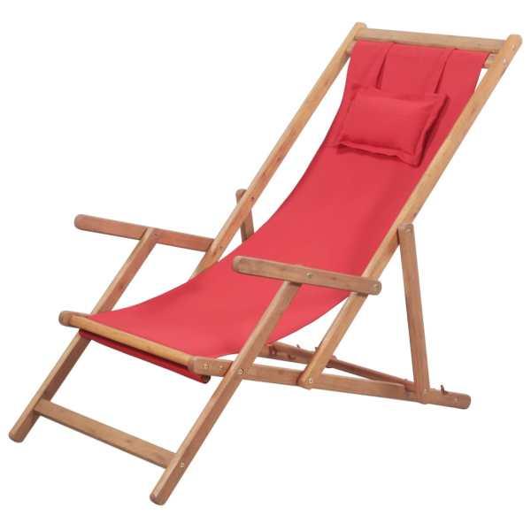 vidaXL Scaun de plajă pliabil, roșu, textil și cadru din lemn