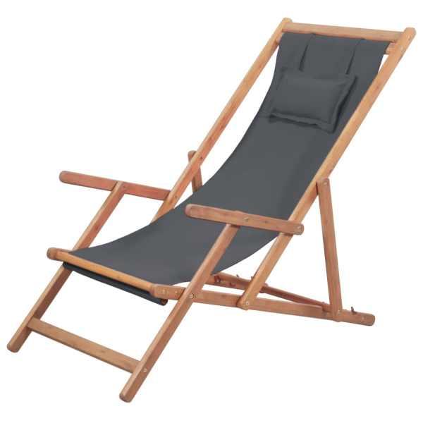 vidaXL Scaun de plajă pliabil, gri, textil și cadru din lemn
