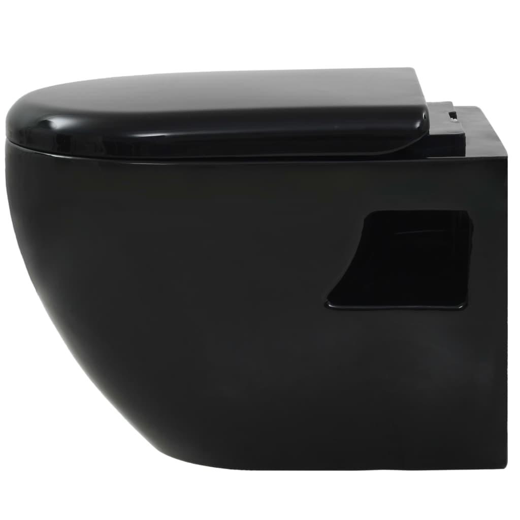 vidaXL Vas de toaletă cu montare pe perete, ceramică, negru