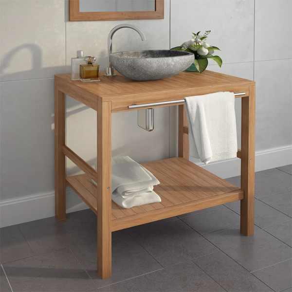 vidaXL Dulap de toaletă, lemn masiv de tec, chiuvetă din piatră de râu