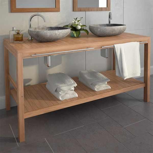 vidaXL Dulap de toaletă, lemn masiv de tec, chiuvete din piatră de râu