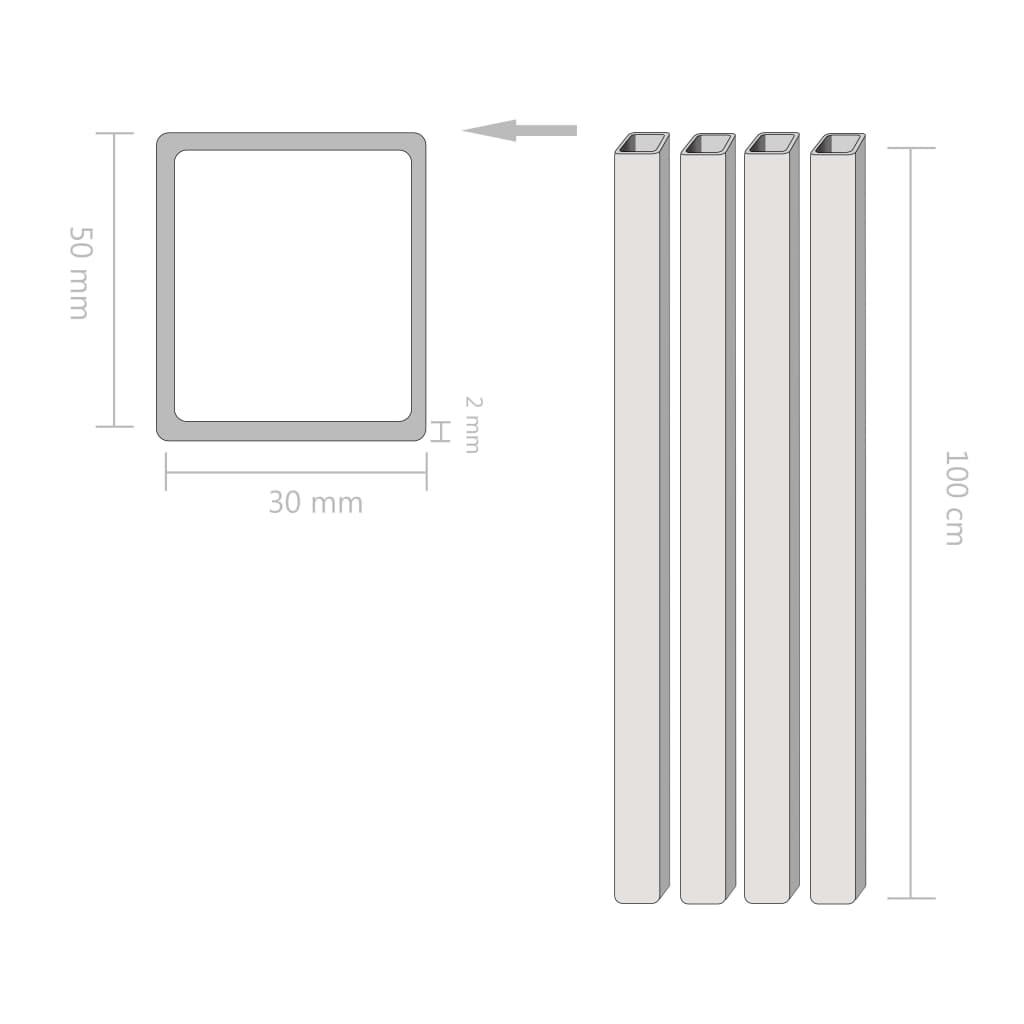 vidaXL Tuburi din oțel structural 4 buc, dreptunghiular 1m, 50x30x2 mm