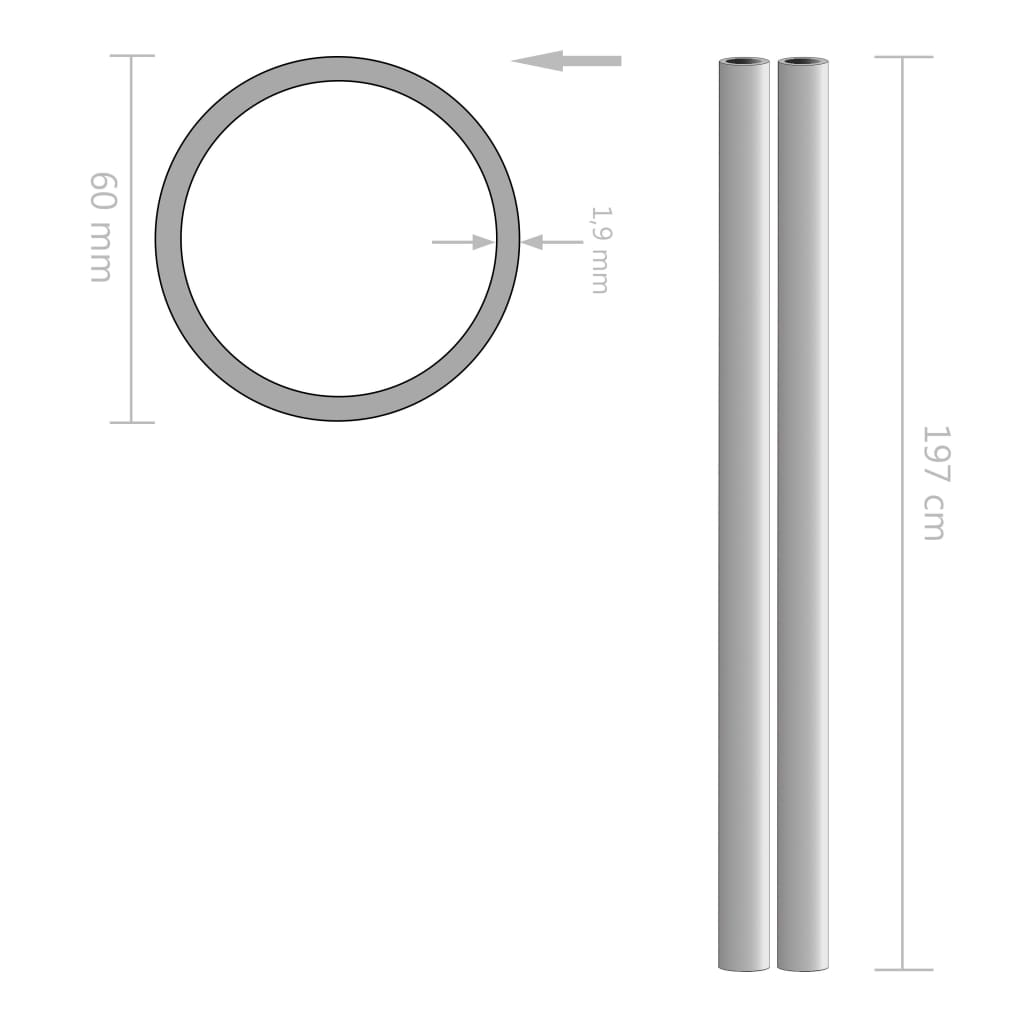 vidaXL Tuburi din oțel inoxidabil 2 buc. Ø60×1,9mm rotund V2A 2m