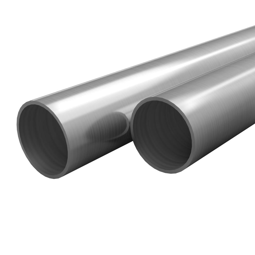 vidaXL Tuburi din oțel inoxidabil 2 buc. Ø70×1,8mm rotund V2A 2m