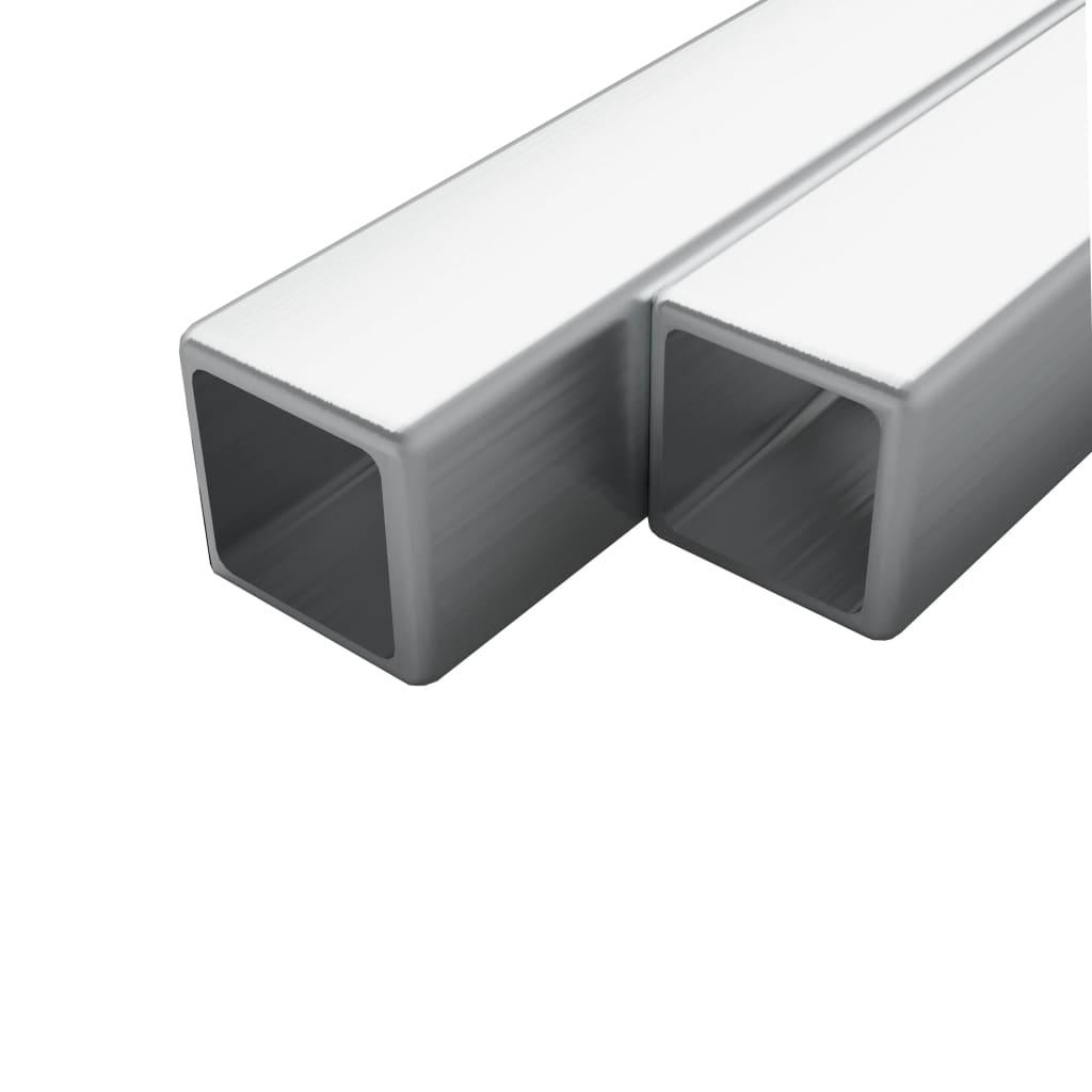 vidaXL Tuburi din oțel inoxidabil 2 buc. 15x15x1,5 mm pătrat V2A, 1 m