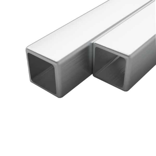 vidaXL Tuburi din oțel inoxidabil 2 buc. 15x15x1,5 mm pătrat V2A, 2 m