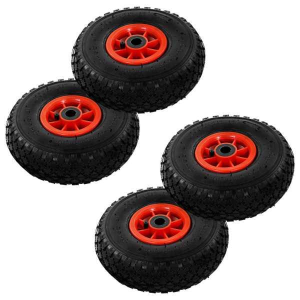 vidaXL Roți cărucior industrial, 4 buc, cauciuc 3.00-4 (260 x 85)