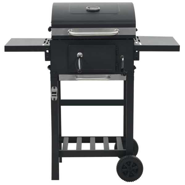 vidaXL Grătar barbecue cu cărbuni, raft inferior, negru