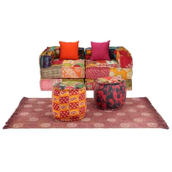 vidaXL Set canapele modulare, 9 piese, material textil, model petice