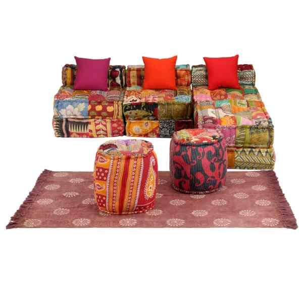 vidaXL Set canapea modulară, 14 piese, material textil, model petice