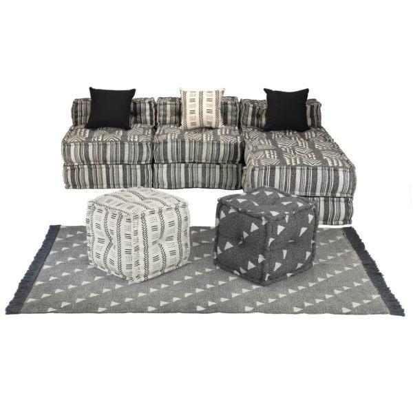 vidaXL Set canapea modulară, 14 piese, material textil, dungi