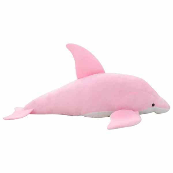 vidaXL Delfin de jucărie, roz, pluș