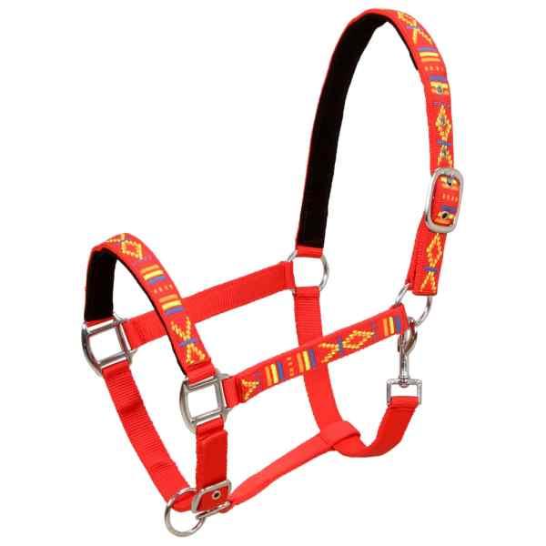 vidaXL Căpestre cai, 2 buc., roșu, mărime rasa cob, nailon