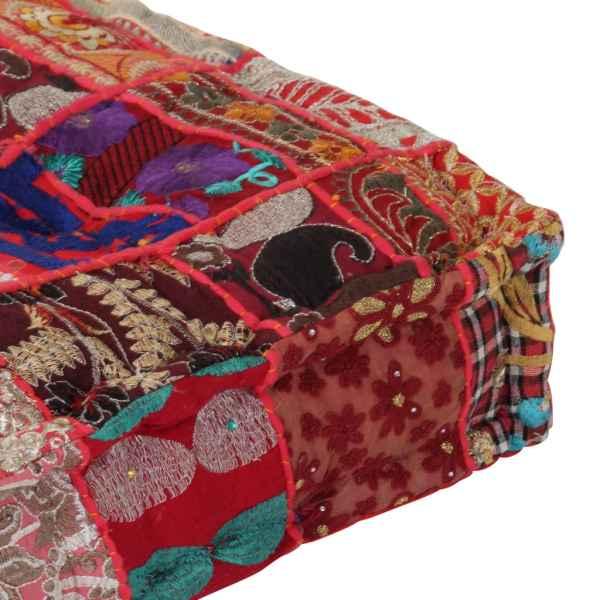 Fotoliu puf petice, roșu, 50x50x12 cm, bumbac, pătrat, manual