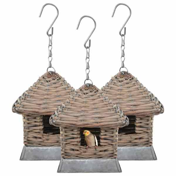 vidaXL Căsuțe de păsări, 3 buc., răchită