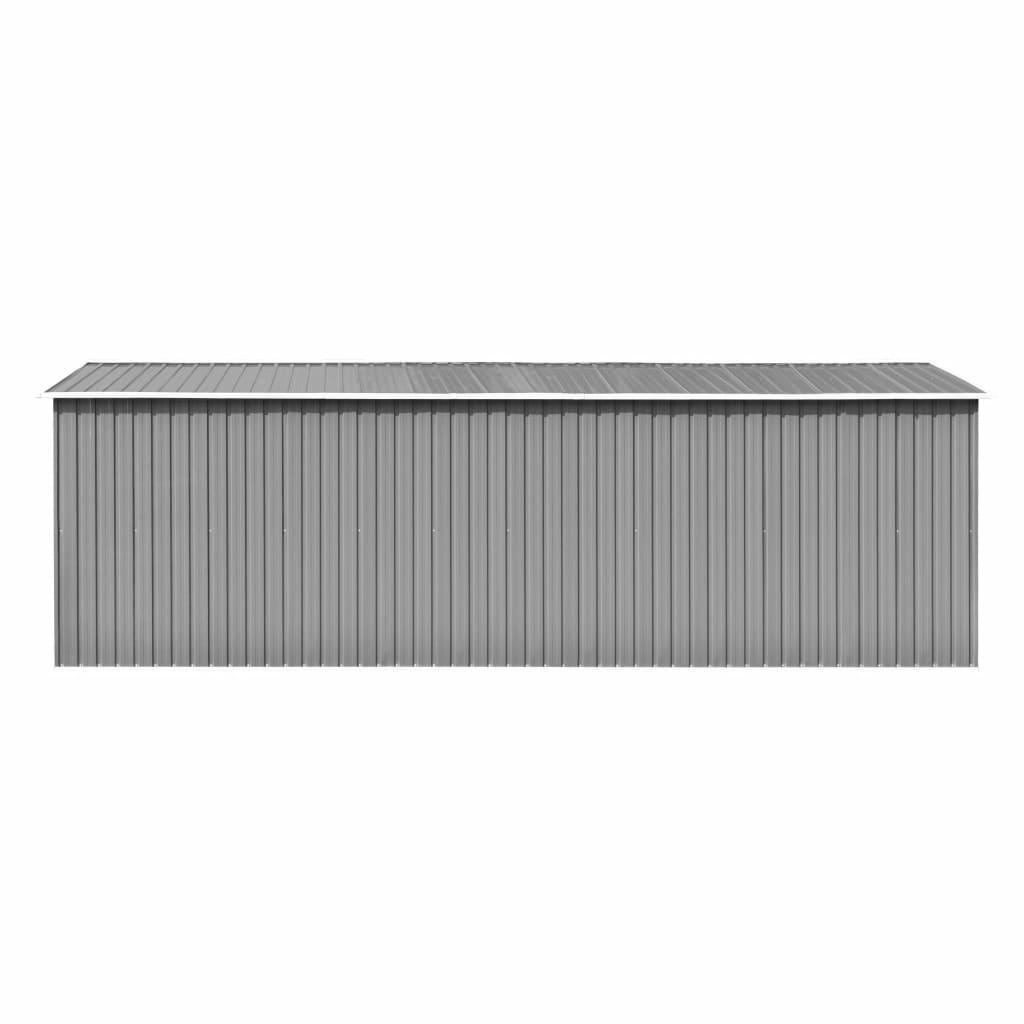 vidaXL Magazie de grădină 257 x 597 x 178 cm, metal, gri