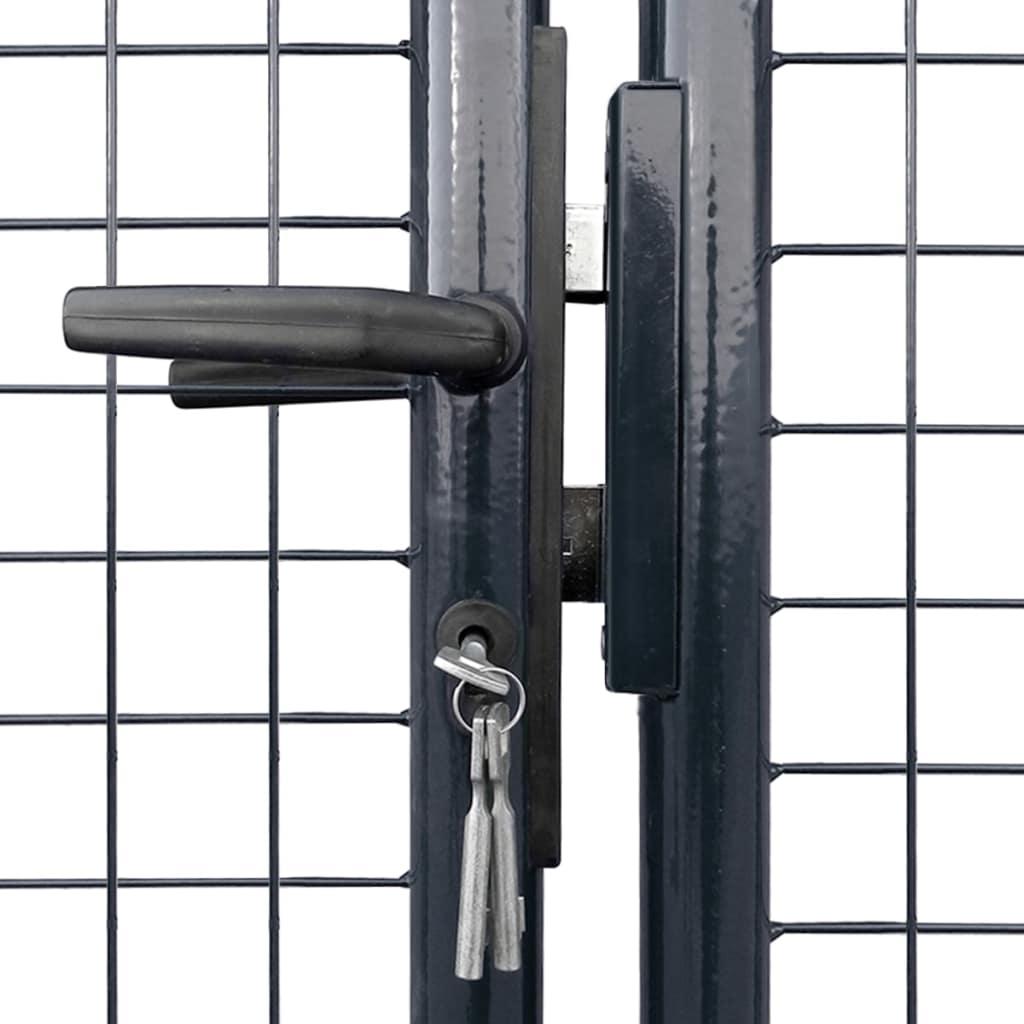 Poartă din plasă de grădină, gri, 289×75 cm, oțel galvanizat