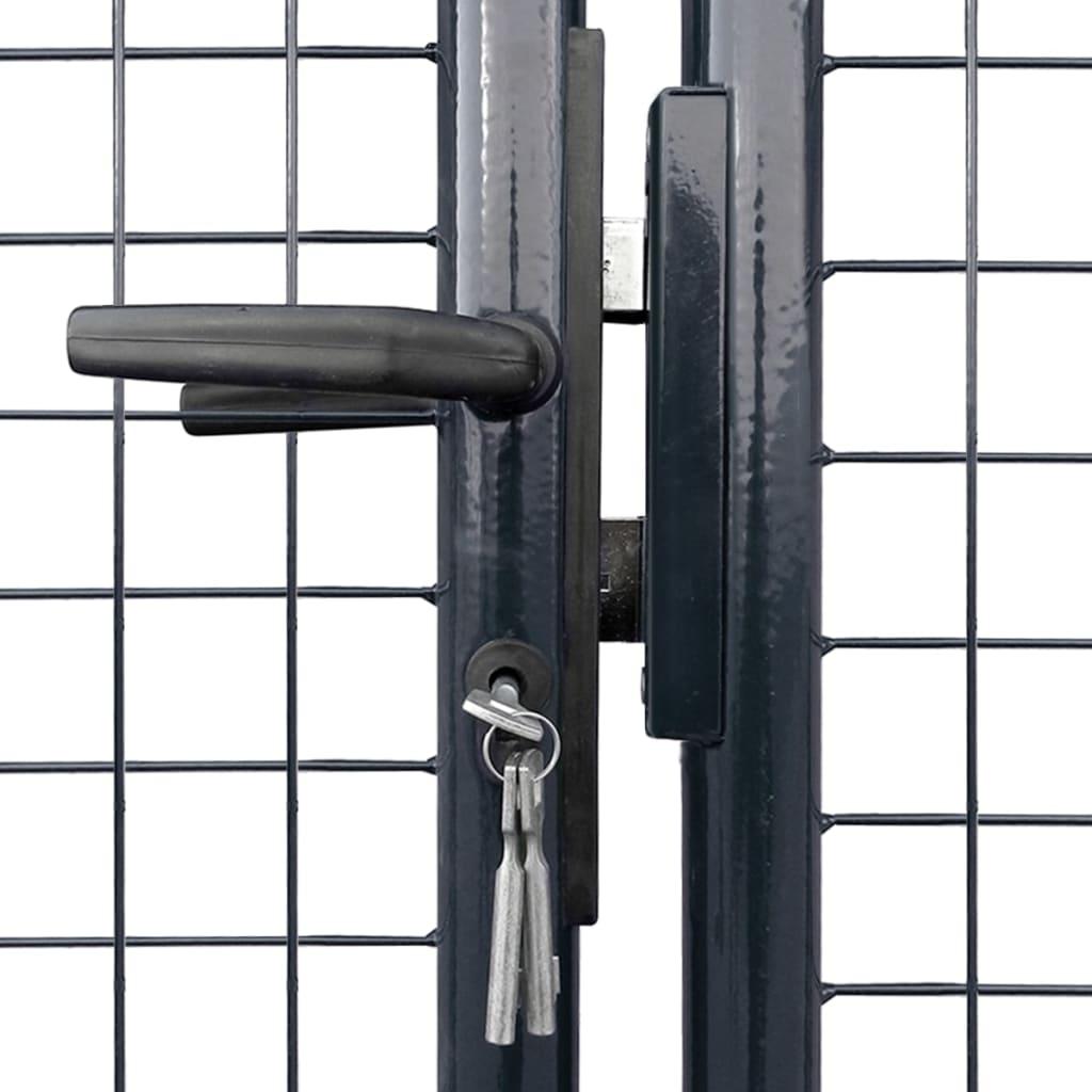 Poartă din plasă de grădină, gri, 289×150 cm, oțel galvanizat
