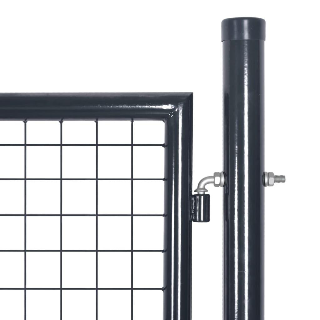 vidaXL Poartă din plasă de grădină, gri, 85,5×100 cm, oțel galvanizat