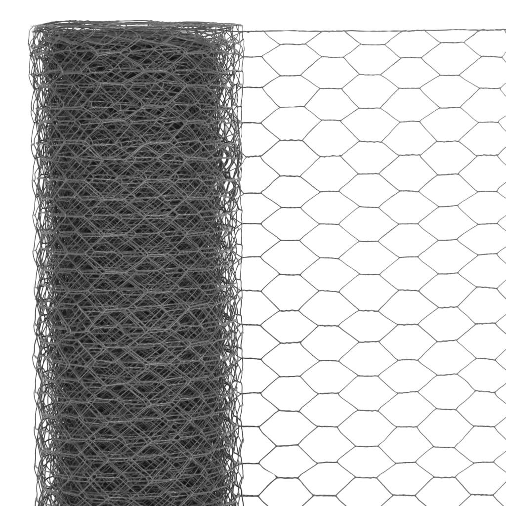 Plasă de sârmă găini, gri, 25 x 1,2 m, oțel cu înveliș PVC