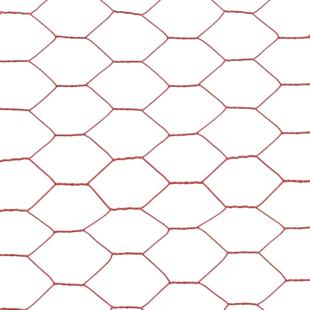 vidaXL Plasă de sârmă găini, roșu, 25 x 1 m, oțel cu înveliș PVC