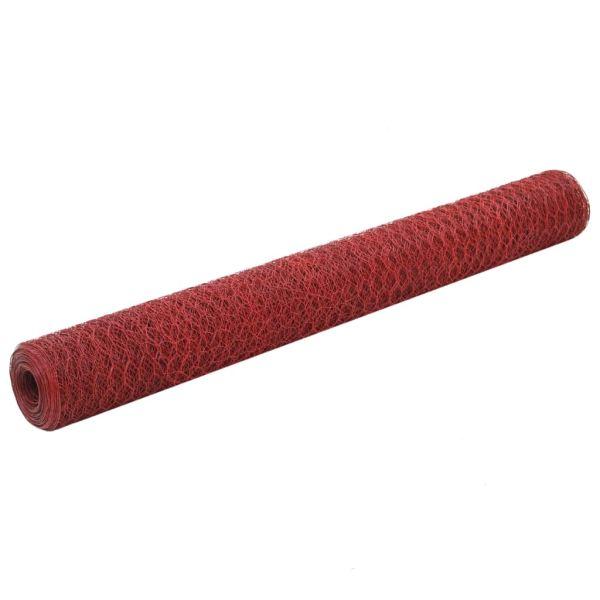 vidaXL Plasă de sârmă găini, roșu, 25 x 1,2 m, oțel cu înveliș PVC