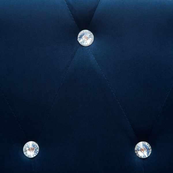Canapea Chesterfield 3 locuri, catifea, 199x75x72 cm, albastru