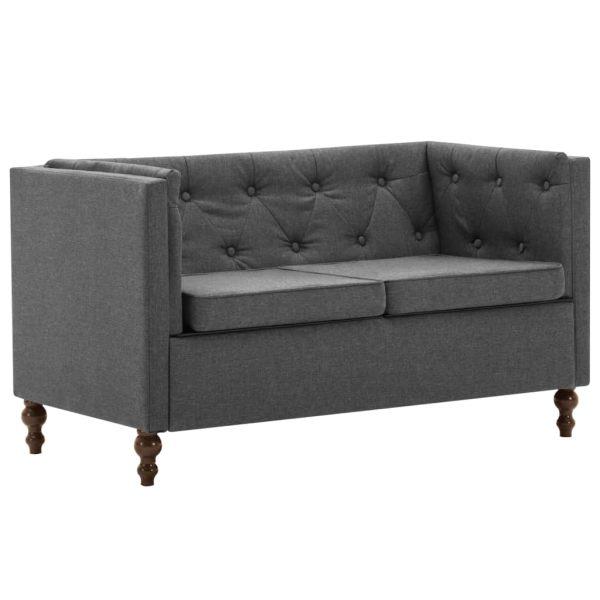 Canapea Chesterfield cu 2 locuri, gri închis, tapițerie textilă