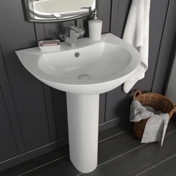 vidaXL Chiuvetă de baie cu piedestal, alb, 520x440x190 mm, ceramică