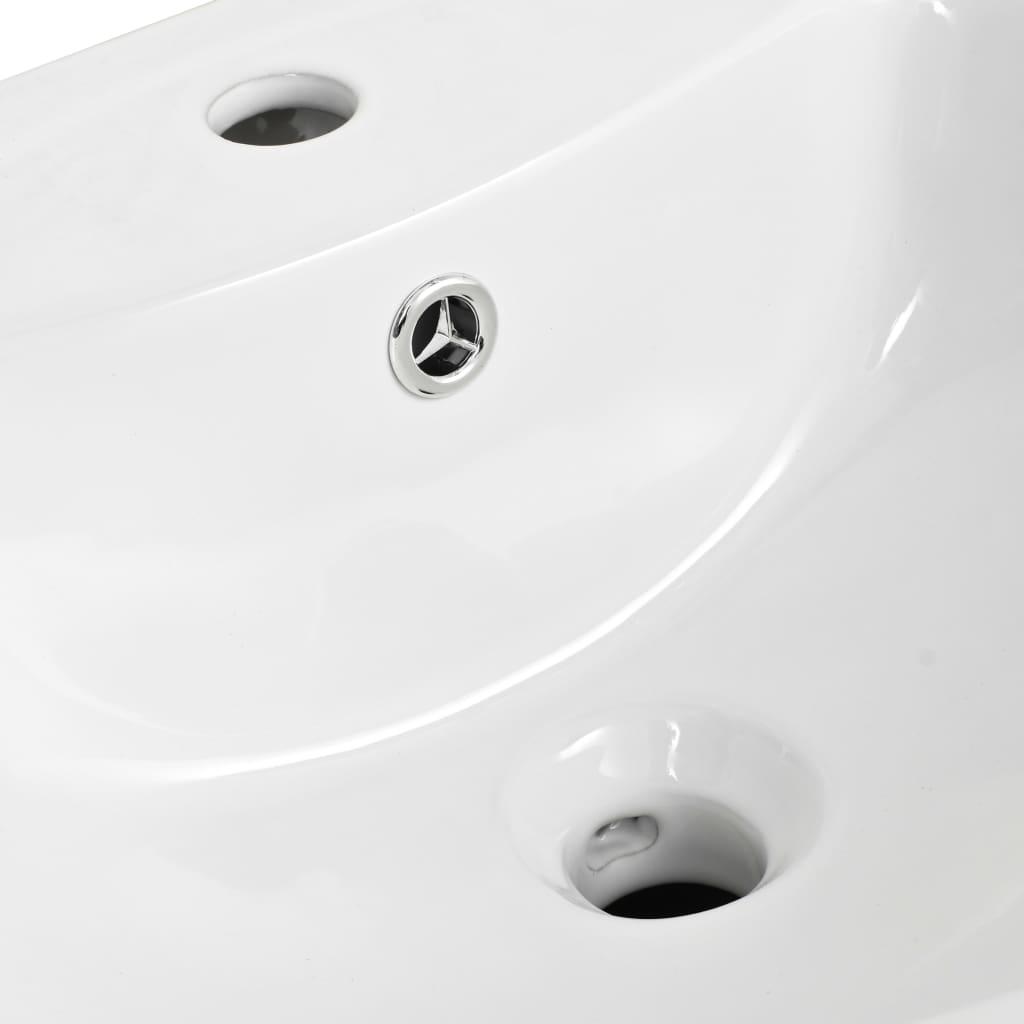 vidaXL Chiuvetă ceramică montată pe perete, alb, 520x450x190 mm
