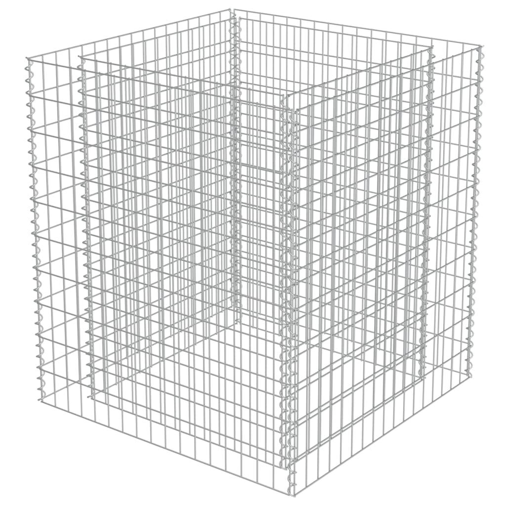 Strat înălțat gabion, 90 x 90 x 100 cm, oțel galvanizat