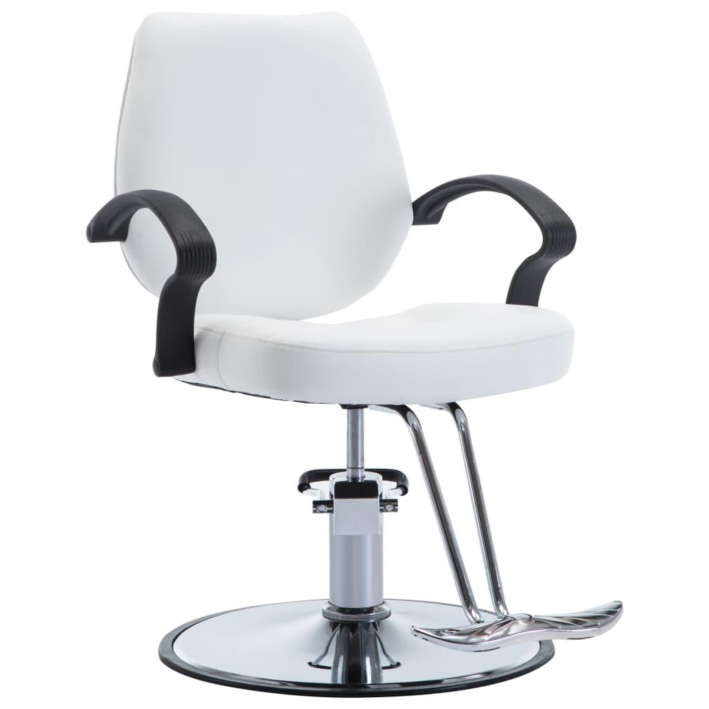 vidaXL Scaun frizer, piele ecologică, alb