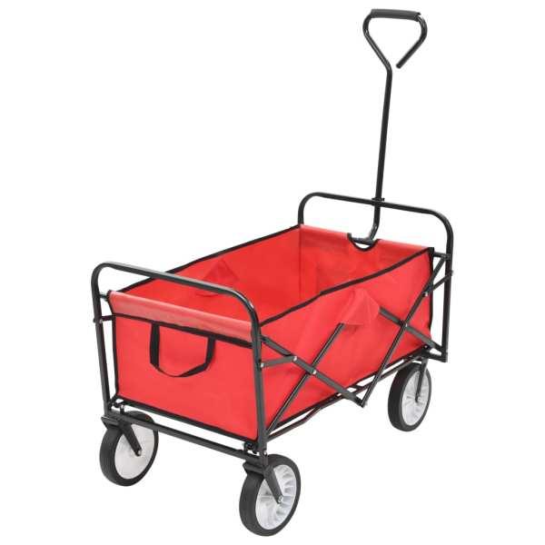 vidaXL Cărucior manual pliabil, roșu, oțel