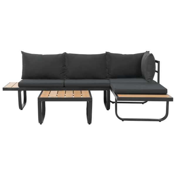 Set canapea de grădină colțar cu perne, 2 piese, aluminiu, WPC