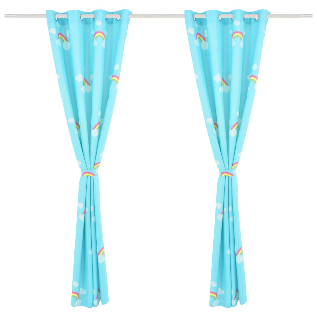 Draperii opace copii, 2 buc., curcubeu, albastru, 140 x 240 cm