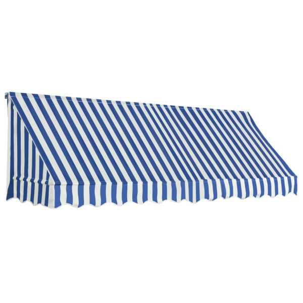 Copertină de bistro, albastru și alb, 300 x 120 cm