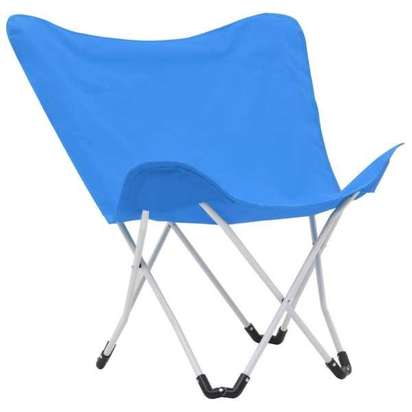Scaune de camping tip fluture, 2 buc., albastru, pliabil