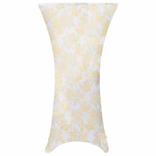 vidaXL Huse elastice de masă, 2 buc., alb cu imprimeu auriu, 60 cm